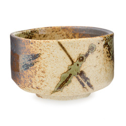 Brown white cross matcha bowl