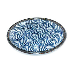 10475 serving plate blue wave