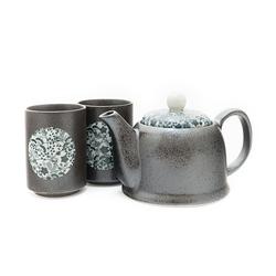 10531 teapot teacups black blue flower pattern pain