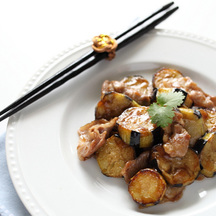 Original aubergine potato stir fry