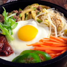 Photo bibimbap korean hotpot